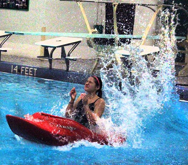 On November 20th, Mariola Gorlicki dove into the pool off the diving board with her kayak in her gym class.