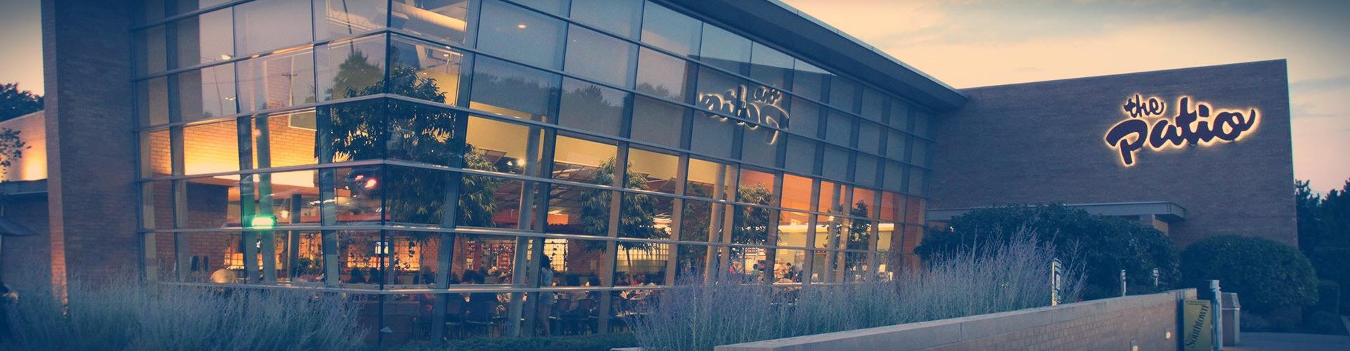 The exterior of The Patio is fanciful and modern.
