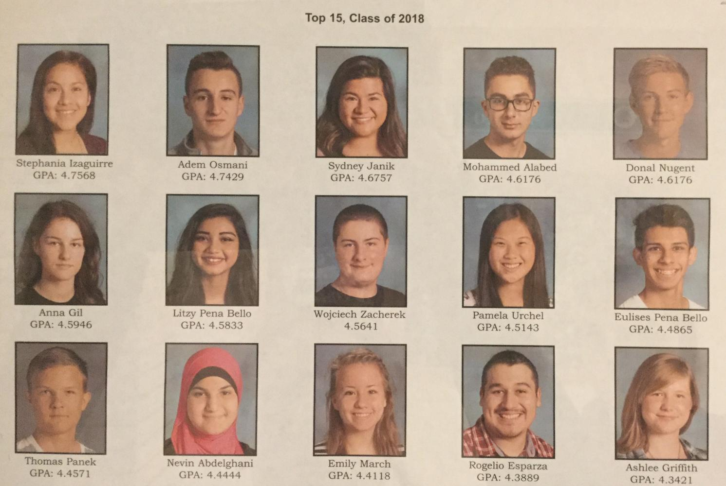 The top 15 students of this year's senior class are proudly displayed in the main hallway for their academic achievement