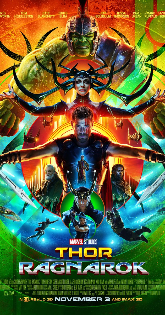 "A ""Thor: Ragnarok"" poster featuring Chris Hemsworth (Thor) And his costars."