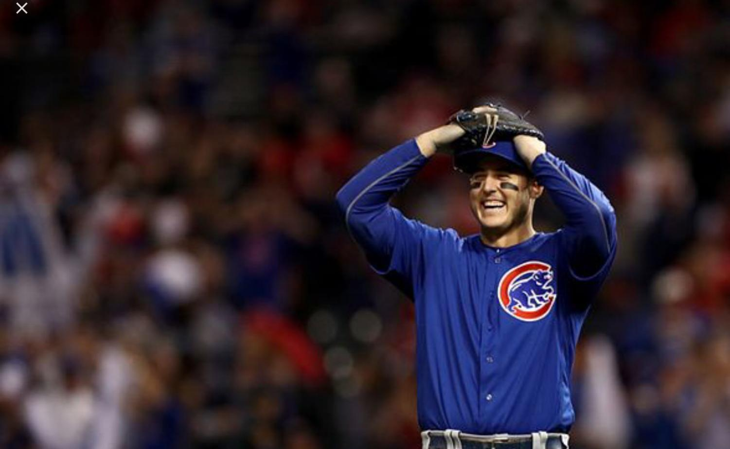 Anthony rizzo celebrates World Series win.