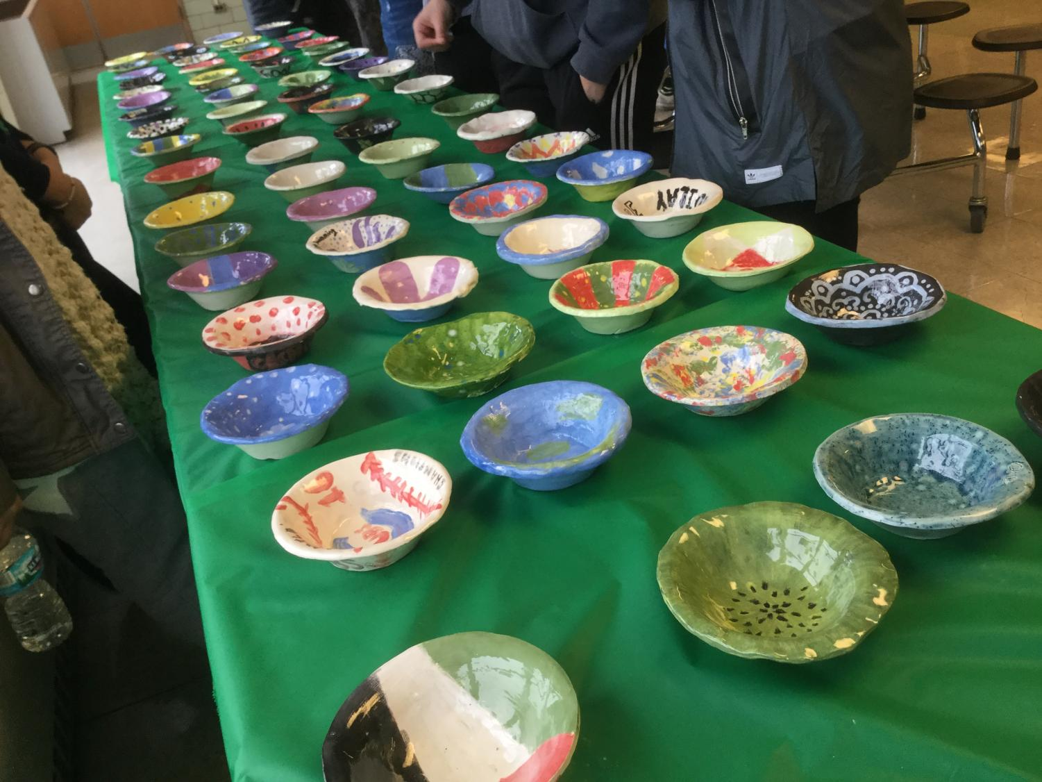 Hand painted ceramic bowls at the fundraiser.