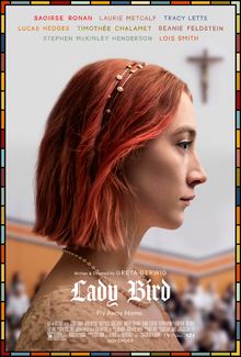 Lady Bird movie poster, with the movie's lead actress Saoirse Ronan.