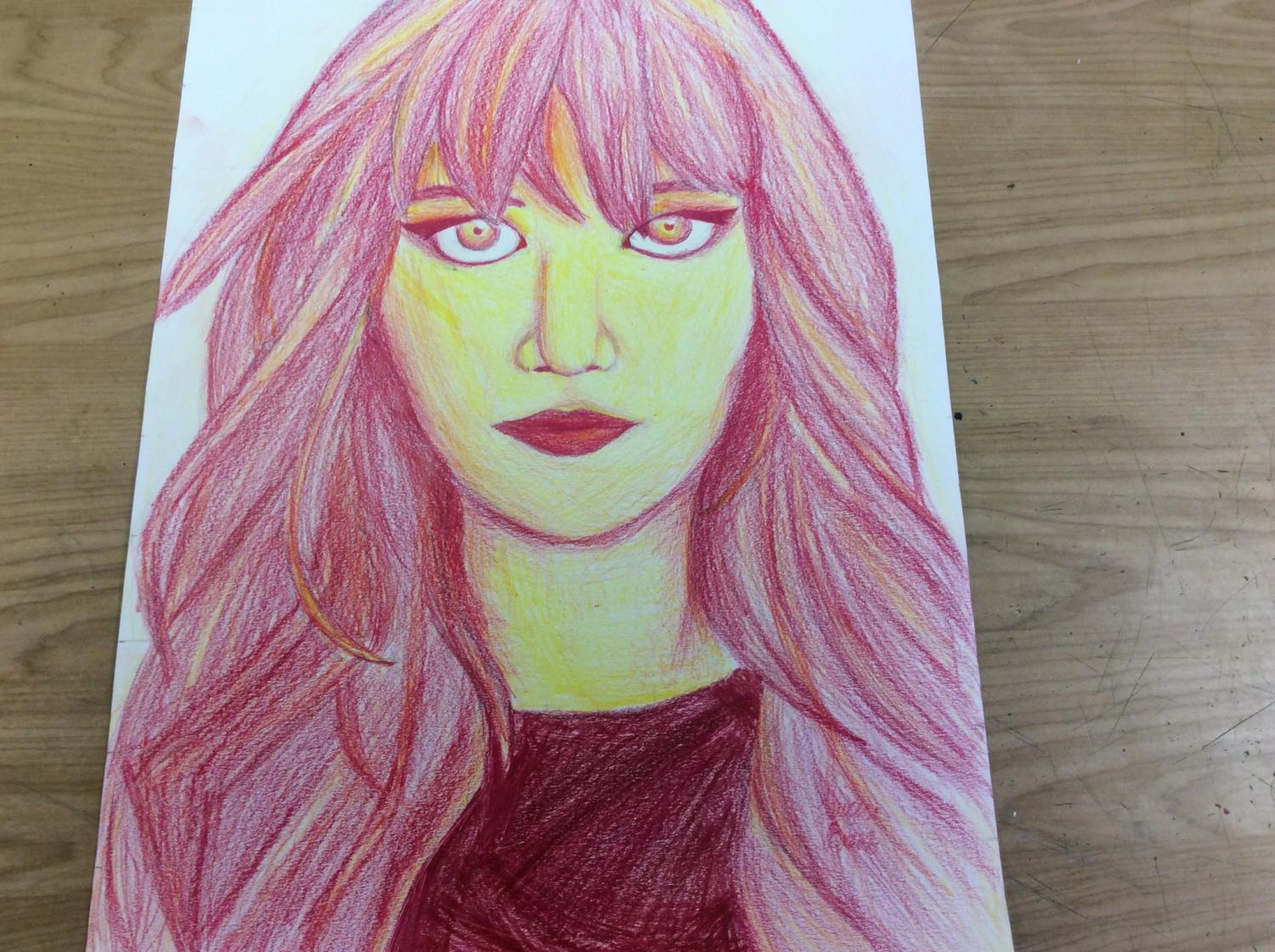 A drawing made by Lauren using colored pencils in her Mixed Media Class!