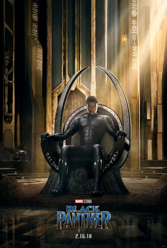 A promotional poster for Marvel's Black Panther with Chadwick Boseman posing as title character T'Challa.