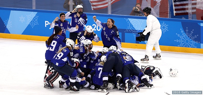 USA+Women%E2%80%99s+Hockey+team+celebrates+their+victory+for+the+first+time+in+20+years+