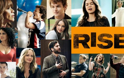A promotional collage poster featuring the main cast of NBC's Rise.