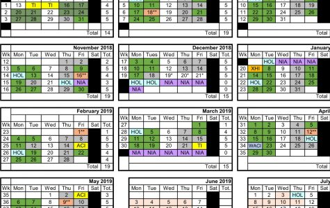 The calander for green and gray days can be found on the website under schedule.