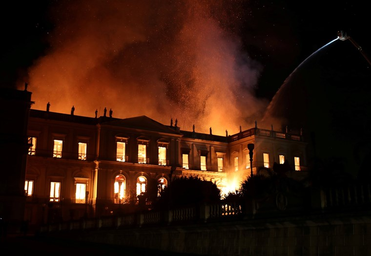 The Brazilian National Museum as it was ravaged by a fire