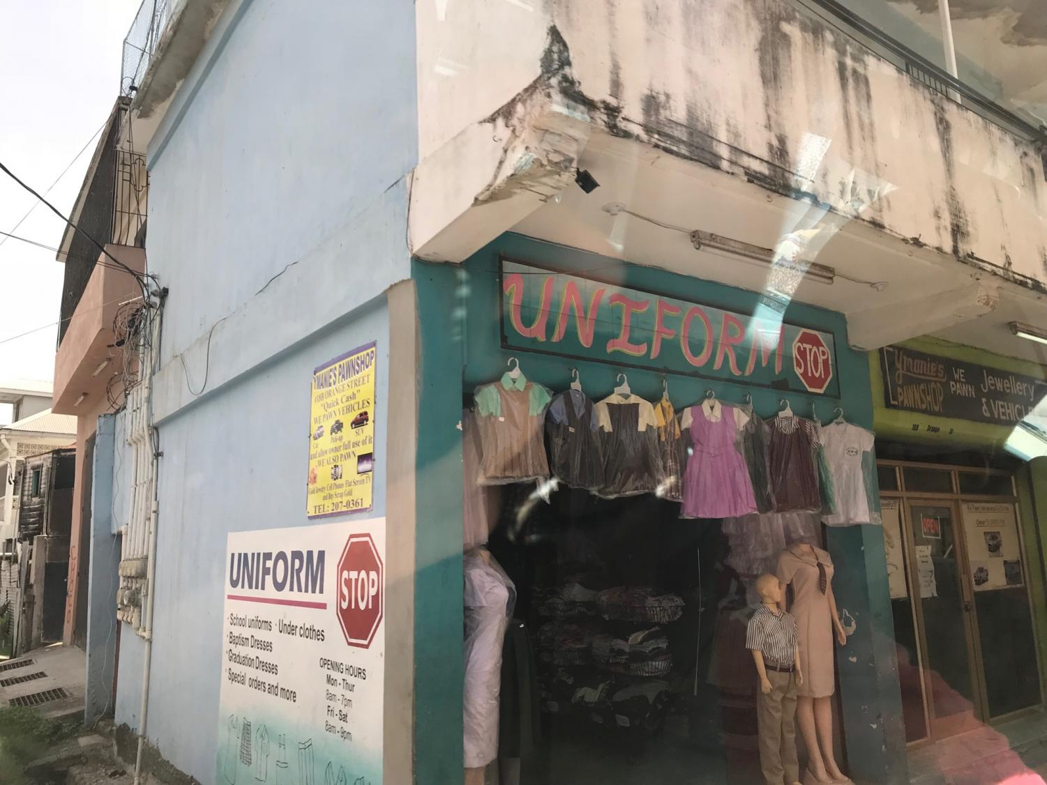 A uniform store in Belize City, Belize. (Photo credit to my dad)