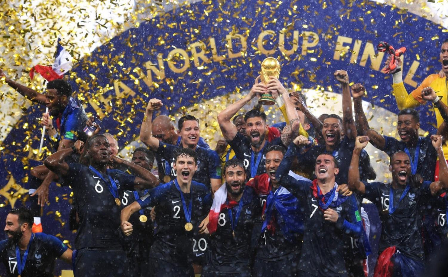 France celebrates after bringing home the cup.