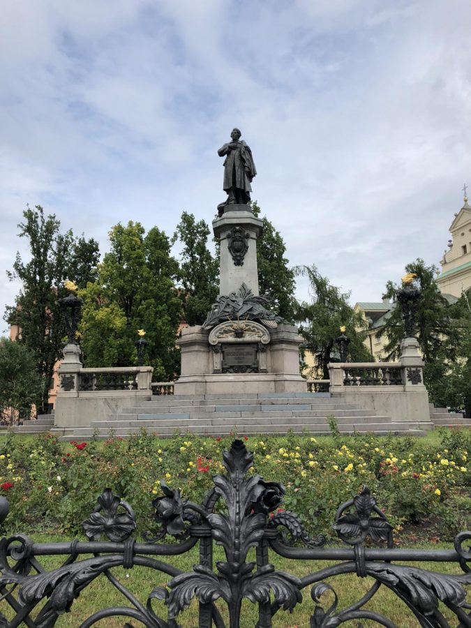 A+statue+of+Adam+Mickiewicz%2C+a+well-known+Polish+Poet%2C+located+in+Warsaw%2C+Poland.+