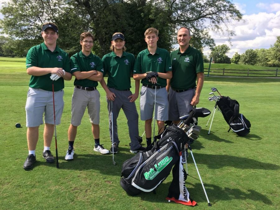 Varsity+Golfers+at+the+Argo+Invitational.+%28From+left+to+right%29+JR.+Jake+McTeague%2C+JR.+Alex+Rodriguez%2C+SR.+Kameron+Oesterreich%2C+SR.+Michael+Bernitt%2C+and+Coach+Mayer.