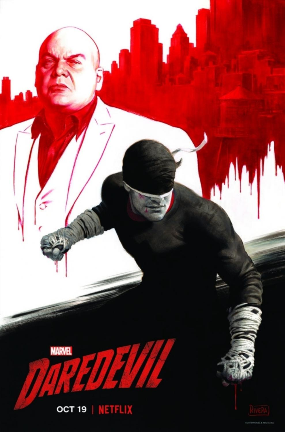A poster for 'Daredevil' season 3 featuring stars Vincent D'Onofrio (Wilson Fisk/Kingpin) and a masked Carlie Cox (Matt Murdock/Daredevil).