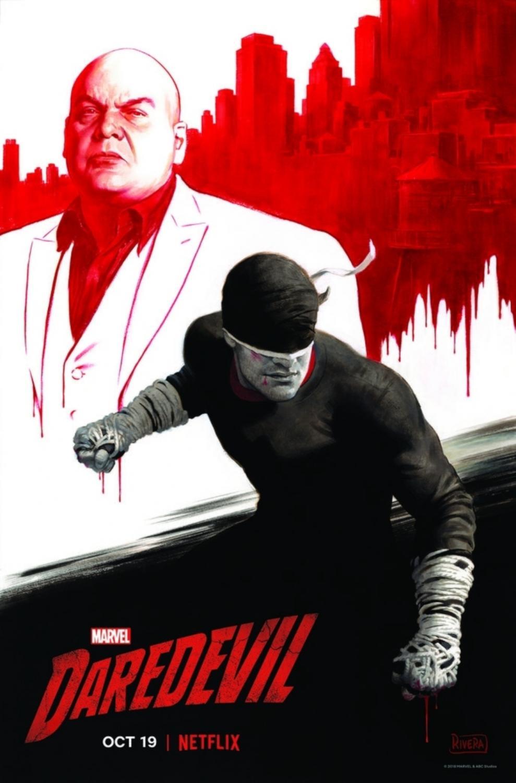 A poster for 'Daredevil' season 3 featuring stars Vincent D'Onofrio (Wilson Fisk/Kingpin) and a masked Carlie Cox (Matt Murdock/Daredevil).