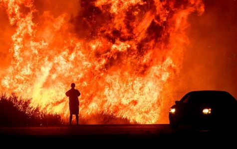 Someone watches flames from the California fire burn everything in its path.
