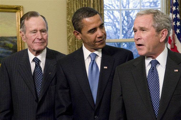 Presidents Bush and President Obama stand together shortly before the latter's inauguration.