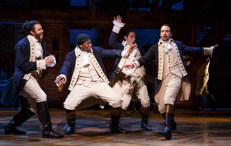 part of the Hamilton cast, (left to right)  Daveed Diggs, Okieriete Onaodowan, Anthony Ramos, and Lin Manuel Miranda.