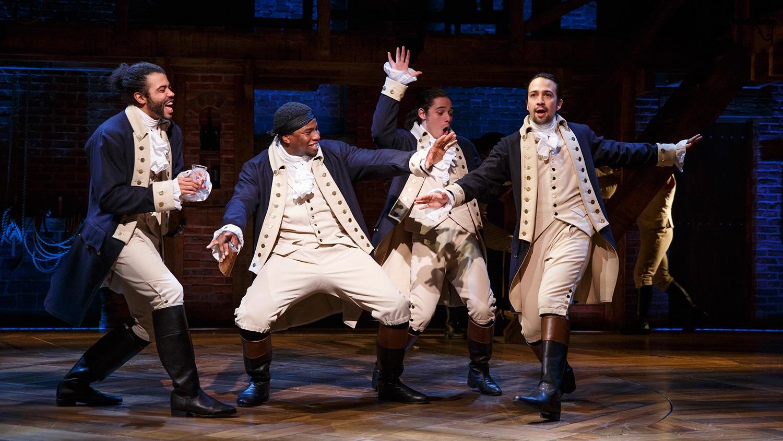 part of the Hamilton cast, (left to right)  Daveed Diggs, Okieriete Onaodowan, Anthony Ramos, and Lin Manuel Miranda.