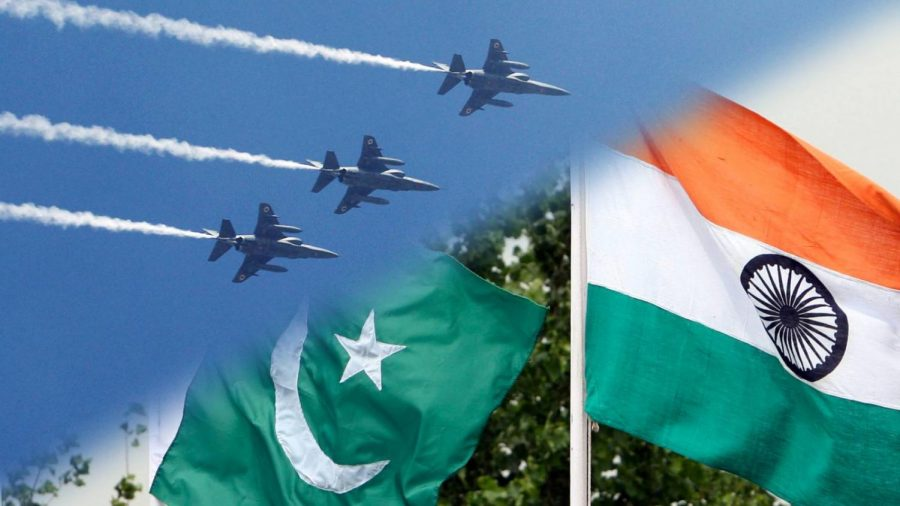 Indian planes fly overhead, juxtaposed with the flags of India and Pakistan