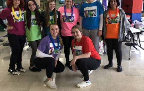 "OL Girls Throws Team with a Disney theme of ""Inside Out"". Top Row (left to right): Emily Katalinic, Alexandra Jordan, Camille Listowski, Emma Garrett, Caroline Kwak, Sereen Uwainat. Bottom row (left to right): Justine Kwak and Dominika Bryniarska."