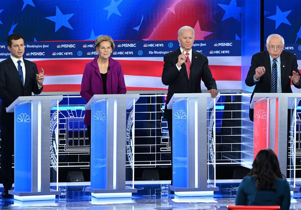 Left to right: Pete Buttieg, Elizabeth Warren, Joe Biden, Bernie Sanders.
